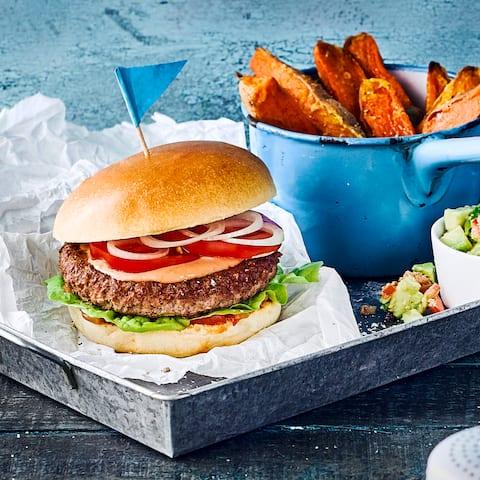 Burger mit Wedges