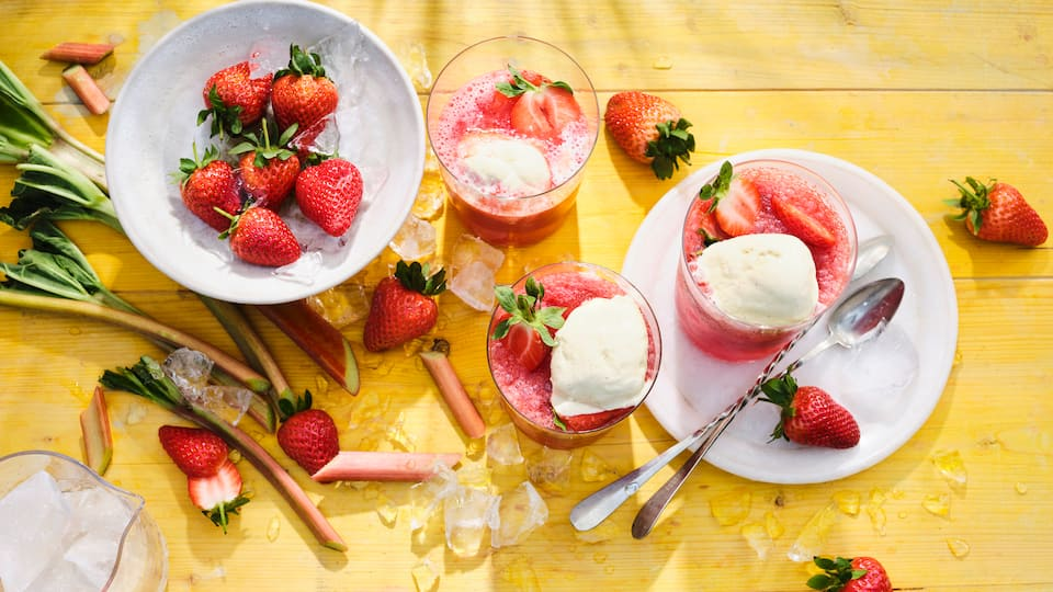 Erdbeer-Rhabarber-Daiquiri-Float