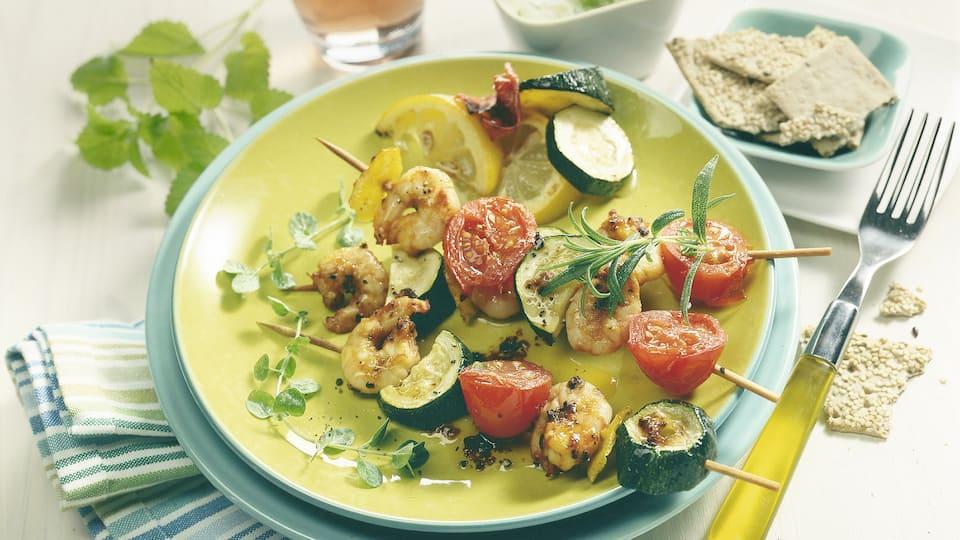 Scampi-Gemüsespieße