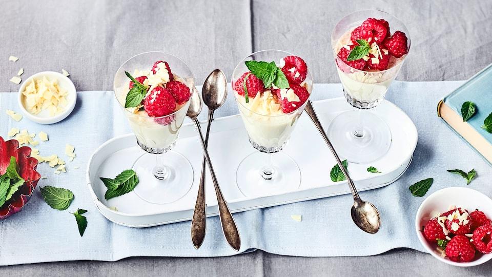 Frische Himbeeren werden in Kombination mit cremiger Panna cotta zu einer fruchtigen Süßspeise für die ganze Familie. Bereiten Sie mit unserem Rezept in kurzer Zeit ein köstliches Dessert zu!