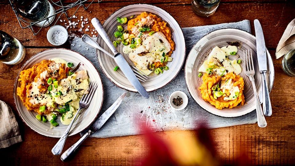 Unser Vorschlag für ein leckeres Herbstgericht: Probieren Sie unser Kürbispüree an Fischfilet in pikanter Frischkäse-Orangen-Soße!