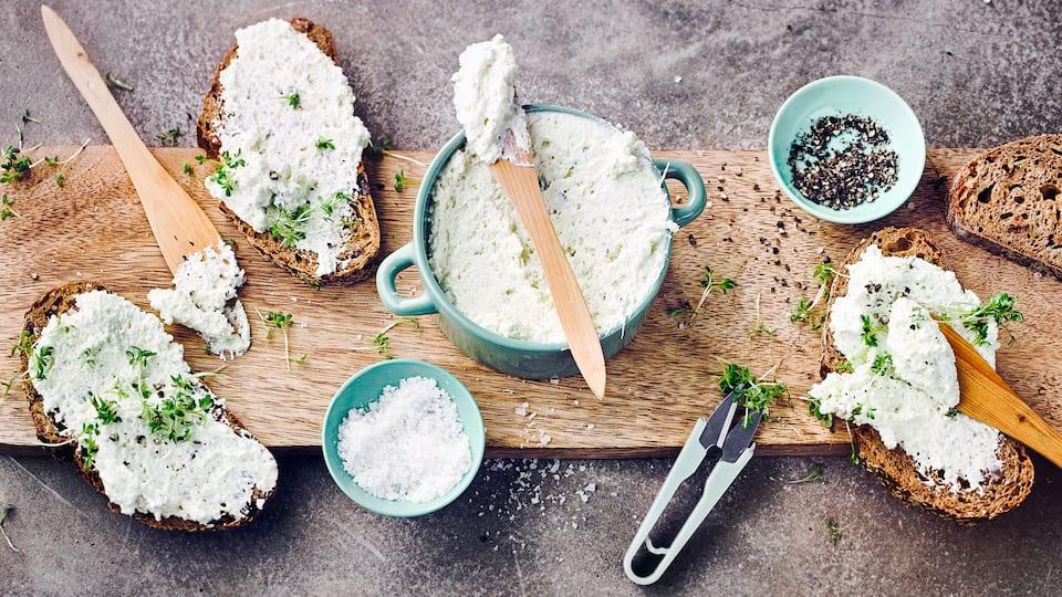 Ein frischer Brotaufstrich mit Kresse, welche es das ganze Jahr über zu kaufen gibt oder aber ganz einfach selbst angesät werden kann.