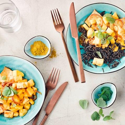 Tofu-Mango-Curry mit Reis