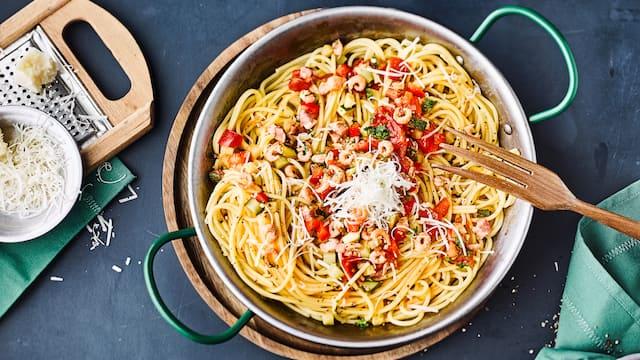 Spaghetti mit Krabben