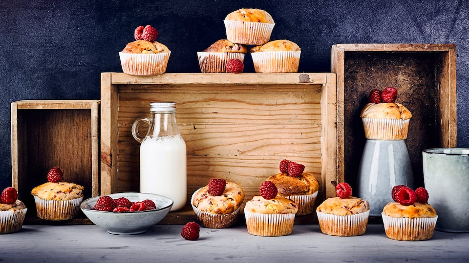 Quark-Muffins mit Himbeeren