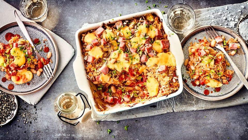 Sauerkraut-Kassler-Auflauf