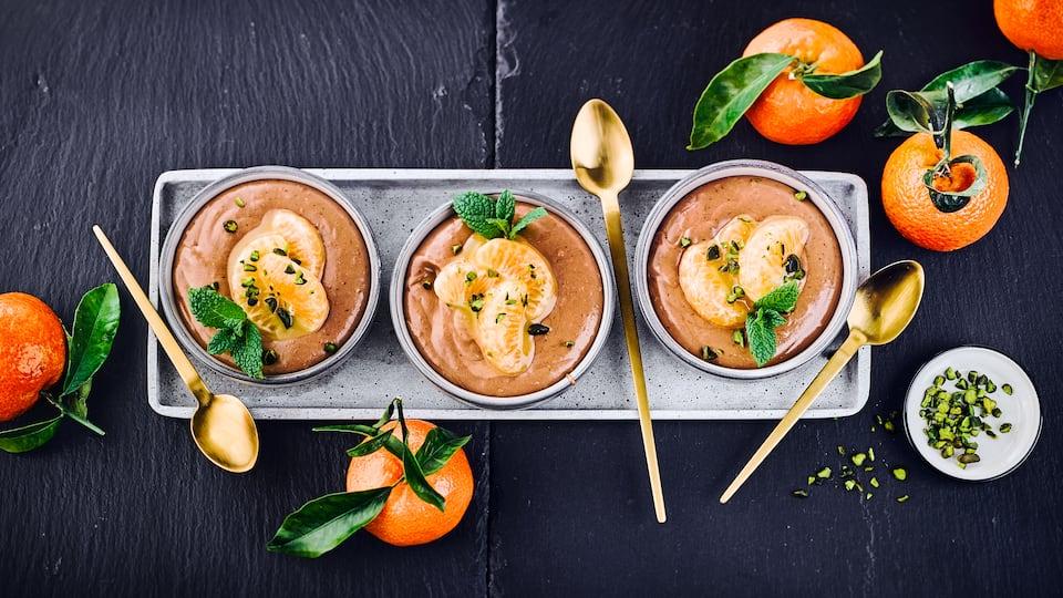 Schokomousse mit Mandarinen