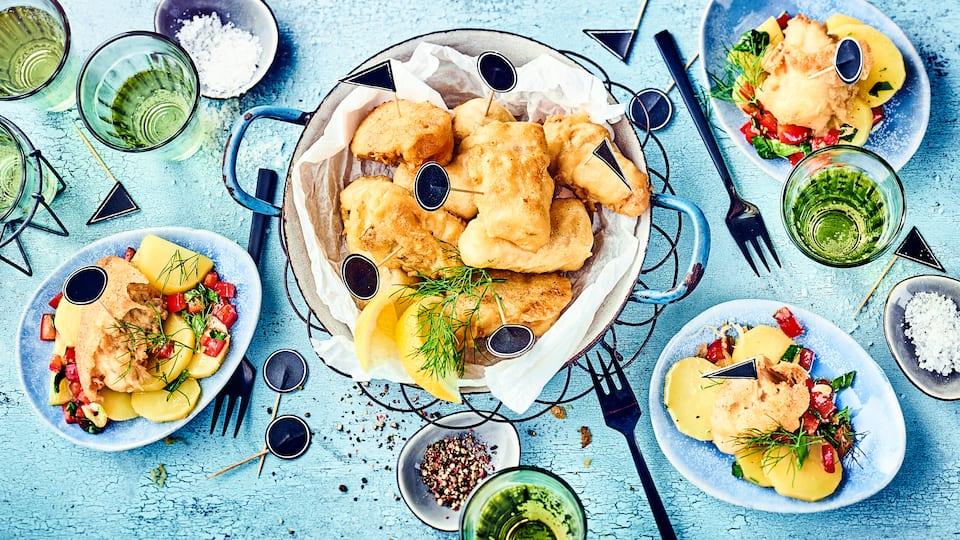 Selbstgemacht und sehr lecker: Seelachs in Bierteig ausgebacken mit Kartoffelsalat.