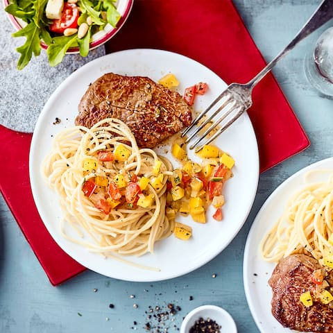 Spaghetti mit Rinderfilet