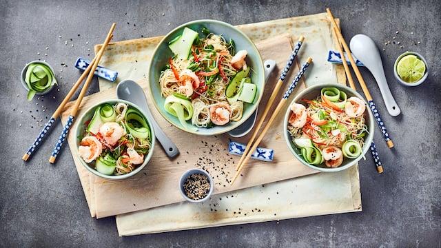 Thai-Nudelsalat mit Garnelen